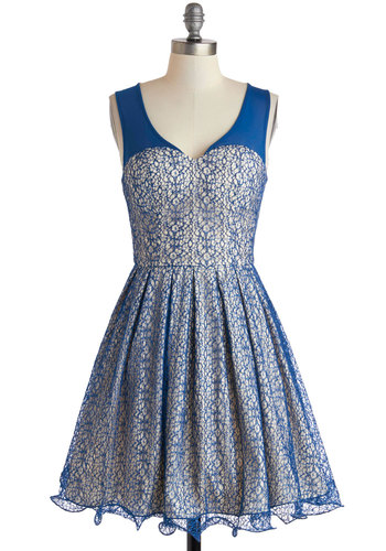 River Cruise Dress - Mid-length, Blue, Tan / Cream, Pleats, Ruffles, Fit & Flare, V Neck, Party, Sleeveless, Prom