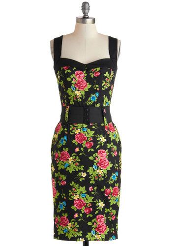 Cool Vibes Dress in Floral - Floral, Cotton, Multi, Belted, Party, Bodycon / Bandage, Sleeveless, Sweetheart, Black, Pinup, Vintage Inspired, 50s, Variation, Long