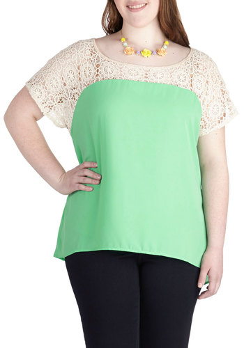 Fashionably Late Afternoon Top in Plus Size - Chiffon, Sheer, Mint, Tan / Cream, Solid, Lace, Work, Daytime Party, Pastel, Short Sleeves, Spring, Summer, Scoop, Exclusives