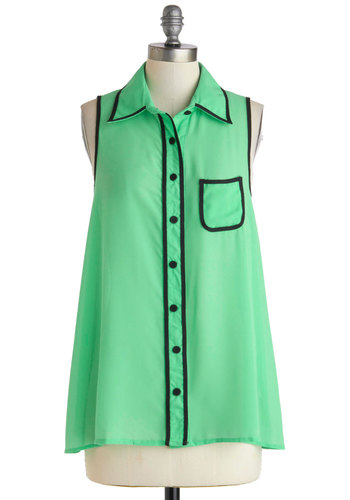 Pistachio My Gosh! Top - Sheer, Mid-length, Solid, Buttons, Pockets, Casual, Sleeveless, Collared, Green, Black, Tent / Trapeze, Button Down, Summer