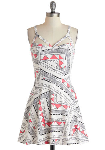 Bright Frame of Mind Dress - Short, Pink, Black, Print, Cutout, A-line, Spaghetti Straps, White, Party, Girls Night Out, Mini, Summer, Statement