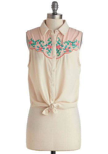 On the Open Rhododendron Top - Green, Pink, Buttons, Embroidery, Sleeveless, Sheer, Short, Cream, Floral, Casual, Pastel, Button Down, Spring, Summer, Collared