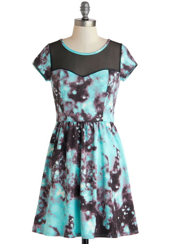 Galactic Gala Dress - Short, Blue, Black, Print, Casual, A-line, Cap Sleeves, Scoop, Sheer