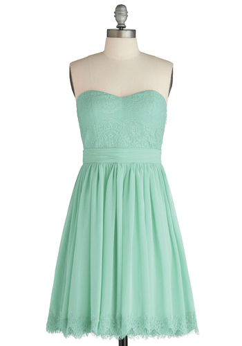 Chic My Name Dress in Seafoam - Short, Mint, Solid, Lace, Party, Empire, Strapless, Sweetheart, Wedding, Bridesmaid, Pastel