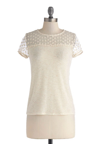 Best Ice Cream in Town Top - White, Lace, Work, Short Sleeves, Mid-length, Casual, Sheer