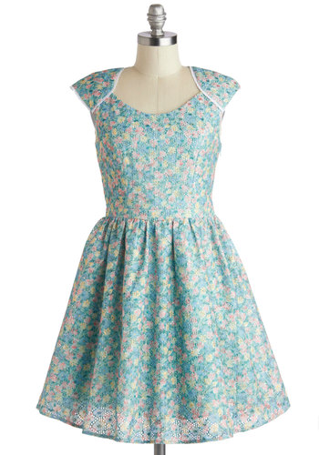 Wildflower Blue Yonder Dress - Mid-length, Blue, Multi, Floral, Eyelet, Casual, Fit & Flare, Cap Sleeves, Scoop, Fairytale