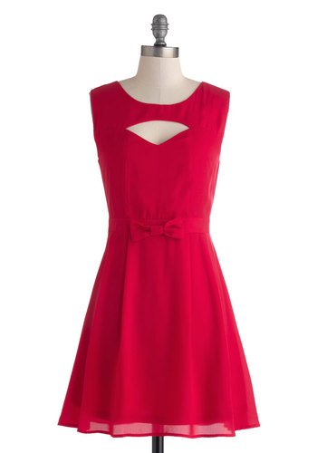 Bright at the Theater Dress - Mid-length, Red, Solid, Bows, Cutout, Party, A-line, Sleeveless, Scoop, Vintage Inspired, Bridesmaid