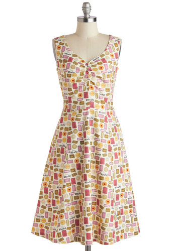 A Biscuit, a Basket Dress by Bea & Dot - Multi, Multi, Novelty Print, Pockets, Casual, A-line, Sleeveless, V Neck, Vintage Inspired, Summer, Long, Exclusives, Cotton, Private Label, Sundress
