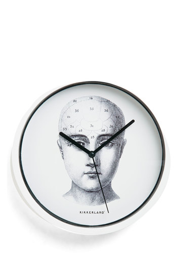 A Head of Schedule Clock by Kikkerland - White, Black, Dorm Decor, Scholastic/Collegiate, Graduation, Good