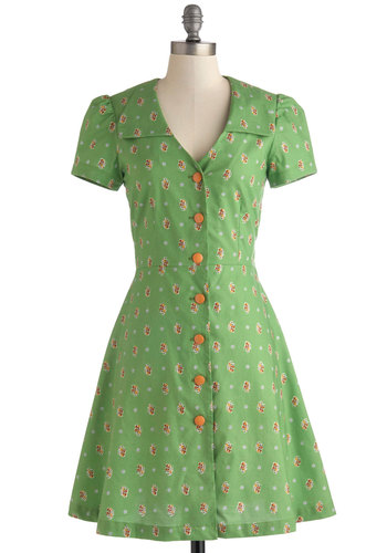 Floral Field Day Dress by Bea & Dot - Green, Multi, Floral, Buttons, Casual, Shirt Dress, Short Sleeves, V Neck, Vintage Inspired, 40s, 50s, Exclusives, Private Label, Top Rated