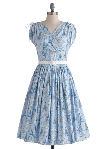France and Frolic Dress by Bernie Dexter - Blue, White, Novelty Print, Belted, Travel, Long, Cotton, Bows, Pockets, Party, Fit & Flare, Cap Sleeves, V Neck, French / Victorian