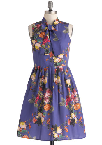 Lay of the Landscape Dress by Bea & Dot - Purple, Multi, Floral, Pockets, Tie Neck, Party, A-line, Sleeveless, Daytime Party, Spring, Mid-length, Woven, Pleats, Exclusives, Basic, Private Label