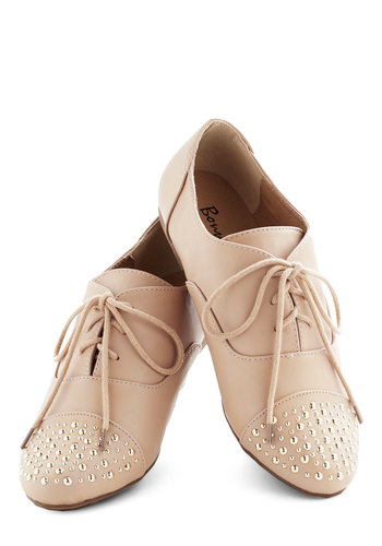 Stay Festooned Flat - Tan, Solid, Studs, Menswear Inspired, Flat, Lace Up