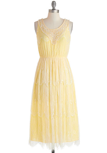 Centennial Soiree Dress - Long, Yellow, Tan / Cream, Solid, Crochet, Lace, Party, A-line, Sleeveless, Scoop, Daytime Party, Graduation, Fairytale, Pastel, Spring, Summer