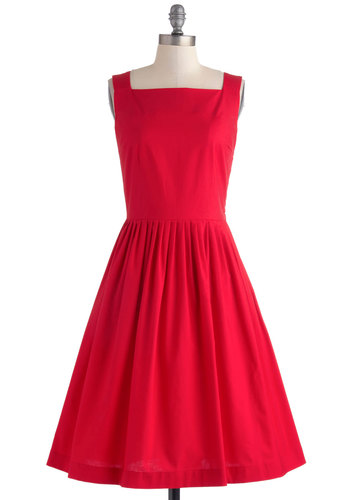 Remarkable without a Cause Dress by Myrtlewood - Red, Solid, Pockets, Party, Fit & Flare, Sleeveless, Vintage Inspired, 50s, Cotton, Woven, Long, Exclusives, Private Label