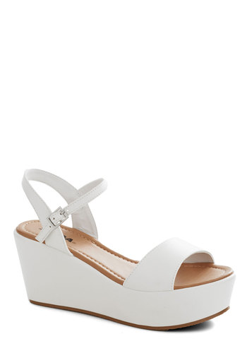 Simple Joys Sandal in White - Mid, White, Solid, Vintage Inspired, 90s, Platform, Wedge, Daytime Party, Summer, Faux Leather, Variation