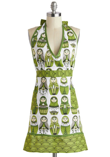 Nesting 1, 2, 3 Apron - Cotton, Green, White, Novelty Print