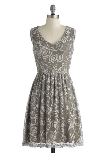 Laser Sunday Afternoons Dress in Lace - Mid-length, Grey, White, Floral, Lace, Party, A-line, Tank top (2 thick straps), V Neck