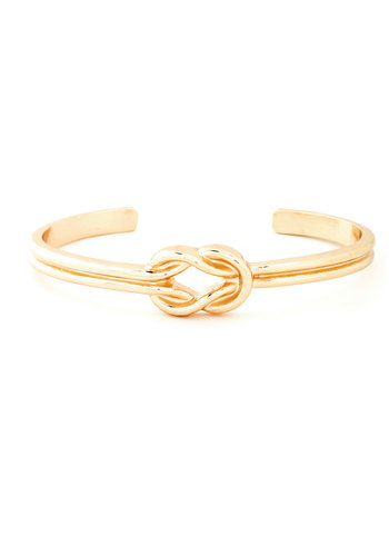 Knot a Moment Too Soon Bracelet - Gold, Solid, Cutout, Gold