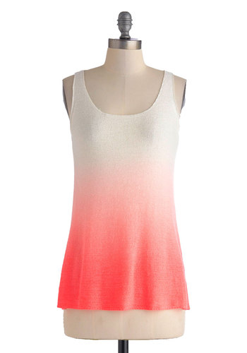 Grapefruit on the Bottom Top - Ombre, Casual, Neon, Tank top (2 thick straps), Mid-length, Pink, White, Beach/Resort, Travel, Summer, Scoop