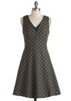 Your Neck of the Woods Dress - Green, Print with Animals, Mid-length, Orange, Pockets, Casual, A-line, Sleeveless, V Neck