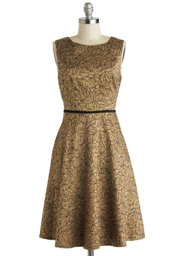 The Way It Bows Dress - Long, Gold, Black, Print, Party, A-line, Sleeveless, Scoop, Pockets, Wedding