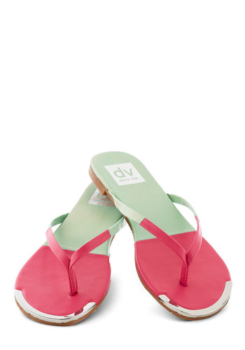 Piazza Tour Sandal in Watermelon by Dolce Vita - Pink, Beach/Resort, Colorblocking, Summer, Flat, Mint, Solid, Casual, Variation