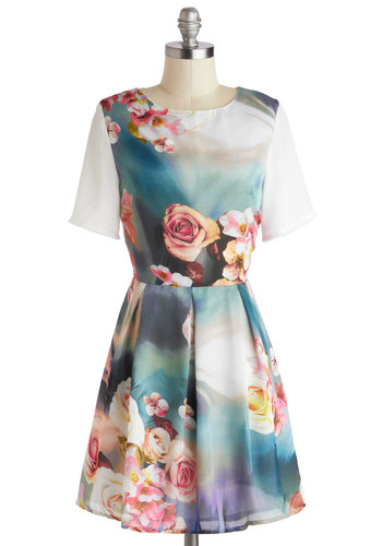 Artistic Visionary Dress - Mid-length, Multi, Floral, Pleats, Party, A-line, Short Sleeves, Crew, Fairytale, Blue