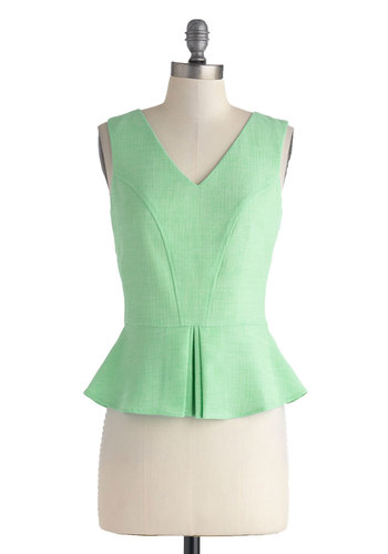 Work Study Buddy Top - Mint, Solid, Daytime Party, Peplum, Sleeveless, Mid-length, Work, Vintage Inspired, 40s, Pastel, Spring, V Neck