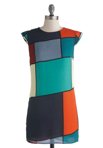 All Squared Away Tunic - Long, Sheer, Multi, Orange, Green, Blue, Black, Casual, Colorblocking, Cap Sleeves, Vintage Inspired, Mod