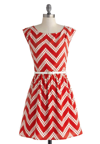 Amaryllis Adventure Dress - Short, Red, White, Chevron, Belted, Casual, A-line, Cap Sleeves, Scoop, Polka Dots