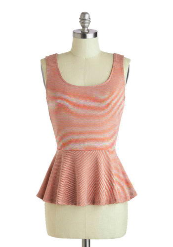 Row Row Romantic Top - Pink, Tan / Cream, Stripes, Cutout, Casual, Peplum, Tank top (2 thick straps), Mid-length, Summer, Scoop
