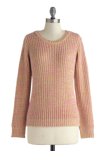 Sunrise to the Occasion Sweater - Mid-length, Pink, Yellow, Knitted, Casual, Long Sleeve, Crew