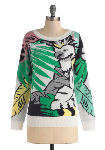 Very Aviary Sweater - Mid-length, Cotton, Multi, Yellow, Green, Blue, Black, White, Print with Animals, Casual, Safari, Long Sleeve, Crew, Quirky, Statement