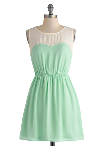 Water Ice to See You Dress - Short, White, Pearls, Party, A-line, Sleeveless, Scoop, Mint, Solid, Daytime Party, Pastel, Spring, Summer, Sheer