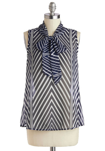 At an Angle Top - Blue, White, Tie Neck, Sleeveless, Sheer, Work, Mid-length, Spring, Blue, Sleeveless