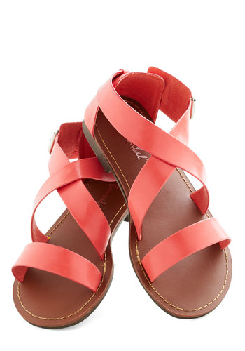 Leisurely Weekend Sandal - Coral, Solid, Summer, Flat, Casual, Beach/Resort, Faux Leather, Strappy