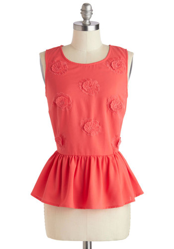 Array of Bouquets Top - Pink, Solid, Embroidery, Flower, Daytime Party, Peplum, Sleeveless, Exposed zipper, Work, Scoop, Mid-length