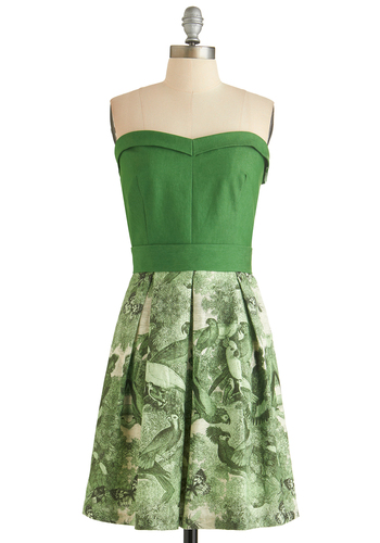 How Tropical Dress - Green, Short, Print with Animals, Pleats, Party, Strapless, Sweetheart, Beach/Resort, Summer, Tan / Cream, Belted, A-line, Twofer, Better, Exclusives, Bird, Woodland Creature