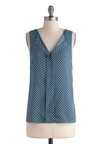 Baking Party Top - Mid-length, Blue, White, Polka Dots, Work, Sleeveless, Blue, Sleeveless