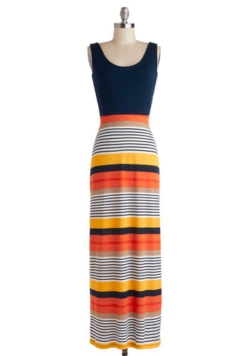 Citrus Sangria Dress - Long, Orange, Yellow, Tan / Cream, White, Stripes, Cutout, Casual, Maxi, Tank top (2 thick straps), Scoop, Multi, Beach/Resort, Summer, Jersey