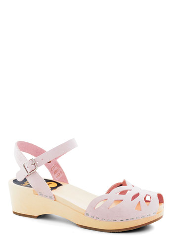 Butterfly Enclosure Wedge by Swedish Hasbeens - Pink, Solid, Cutout, Low, Chunky heel, International Designer, Leather, Summer