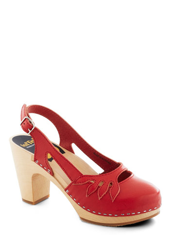 Lend a Branch Heel by Swedish Hasbeens - Red, Solid, Mid, Chunky heel, Slingback, International Designer, Cutout, Daytime Party, Vintage Inspired, Leather, Folk Art
