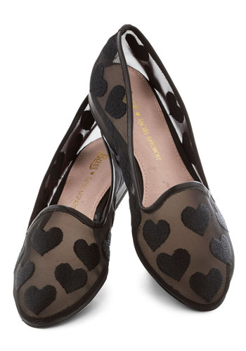 Rachel Antonoff for Bass We Really Mesh Flat - Black, Print, Flat, Casual, Urban, Quirky, Valentine's