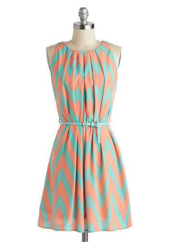 Great Wavelengths Dress in Pastel - Mid-length, Pink, Mint, Chevron, Belted, Casual, A-line, Sleeveless, Crew, Pleats