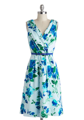 Beautiful Blueprints Dress - Long, Blue, Green, Floral, Pockets, Belted, Daytime Party, A-line, Sleeveless, V Neck, Wedding, Summer