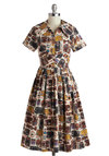 Baggage Claim To Fame Dress by Myrtlewood - Long, Cotton, Brown, Multi, Novelty Print, Pleats, Casual, A-line, Short Sleeves, Collared, Exclusives, Private Label