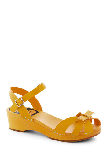 Your Cheerful Nature Heel in Yellow by Swedish Hasbeens - Yellow, Solid, Bows, International Designer, Leather, Cutout, Casual, Daytime Party, Eco-Friendly, Summer, Folk Art