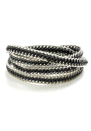Chain Is in the Air Bracelet in Black - Black, Silver, Solid, Braided, Chain, Urban, Silver