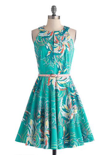 Kensington Market Dress - Mid-length, Blue, Floral, Belted, A-line, Sleeveless, Multi, Exposed zipper, Party, Cotton